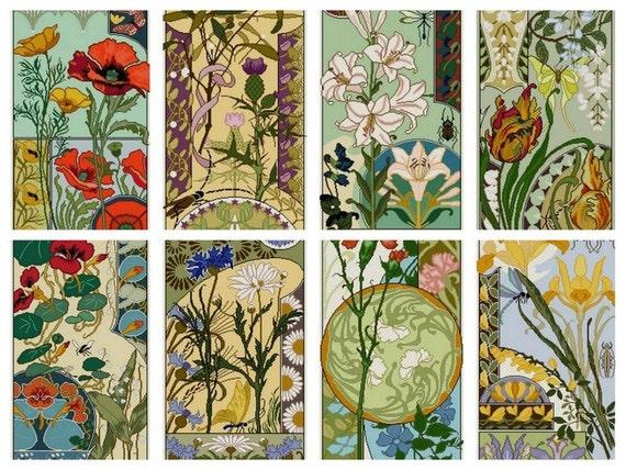 Set Of 8 Art Nouveau Floral Cross Stitch Patterns Pdf