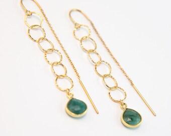 Raw Emerald Circle Threader Earrings, Gold Circle Drop Earrings, Minimalist Earrings, Gemstone Dangle Earrings, Handmade, Gift for Friend