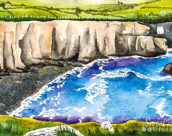 Dingle Ireland Watercolor Print (Vibrant Landscape Europe Traveling Ocean Cliff Farms Country Beach Nature Scenery Irish Travel Painting)