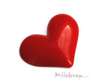 Big heart resin srouge embellishment scrapbooking cardmaking X 1 (ref.310). *.