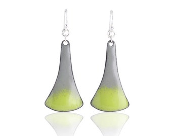 Splash Green Enamel Earrings