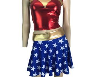 Metallic Wonder Woman Costume - Stars Skater Skirt or Booty Shorts and Metallic Red Tank Outfit - Clubwear, Rave Wear, Mini Circle Skirt