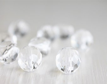 12 Clear Faceted 10mm Rounds - Czech Glass Beads