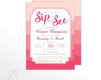Girl Sip and See Invitation, Pink Sip and See Baby Invitation, Sip N See Baby Girl Invitations, Chic Baby Shower Invitation, Pink Sip & See