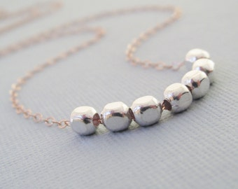 Sterling Silver And Rose Gold Necklace, Mother's Day Gift, Sterling Silver Beaded Necklace, Square Bead Necklace, Rose Gold Chain Necklace,