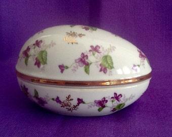 Ucago Porcelain Egg Violets Trinket Box