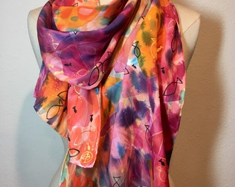 Something Fishy, coral pink watercolor fish, hand painted silk jacquard scarf, shimmering large painterly silk wrap, wearable art scarf