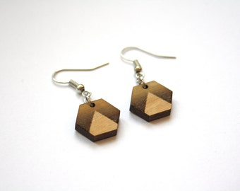 Contemporary jewel, wood earrings, hexagon shape with triangle pattern, geometric chic, minimalist, minimal, modern design, art deco style