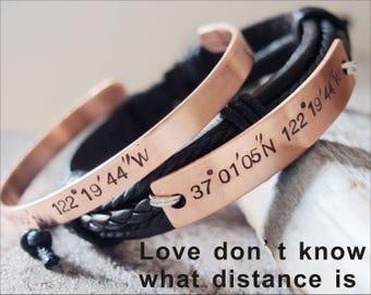 Custom Coordinate bracelet, Coordinate Bracelet, Coordinate Bracelet leather, custom bracelet his and hers, personalized coordinate bracelet