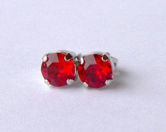 Ruby rhinestone stud earrings / 6mm / Swarovski crystal / birthday gift / July birthstone / bridesmaid / gift for her / girlfriend gift