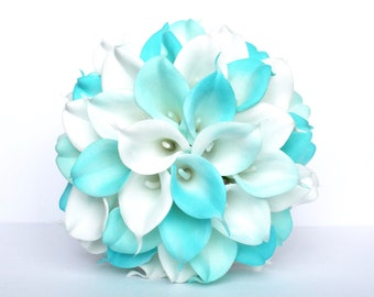 Turquoise Wedding Bouquet , Calla Lily Wedding Bouquet, Turquoise and White Bridal Bouquet
