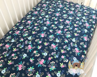 Navy Pink Fitted Crib Sheet Floral Nursery Bedding Sheet Toddler Navy Pink Floral Crib Cradle Twin Full Queen Changing Pad Cover Sheet