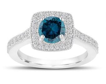Platinum 1.29 Carat Blue Diamond Engagement Ring, Blue Diamond Wedding Ring, Halo Engagement Ring, Pave Certified Handmade