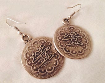 Vintage calligraphy coin medallion engraved Earrings
