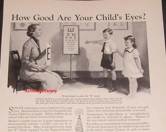 1936 Eye Test for Children, Vintage Print Ad, Metropolitan Life Insurance Co, Ophthalmology / Eye Doctor Decor