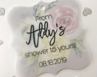 From My Shower To Yours Favor Tags, Transparent Vellum and Printed Background Tags, Custom Shower Favor Tags (FS-494-T008-V)