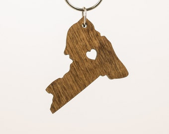 New York Wooden Keychain - NY State Keychain - Wooden New York Carved Key Ring - Wooden NY Charm