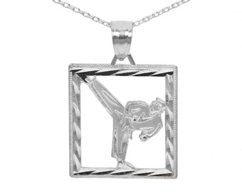 14k White Gold Karate Necklace