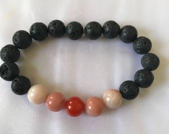 Black Lava Bead and Agate Diffuser Bracelet