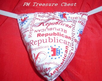 New Men's REPUBLICAN Party Political Politics Gstring Thong Male Lingerie Underwear
