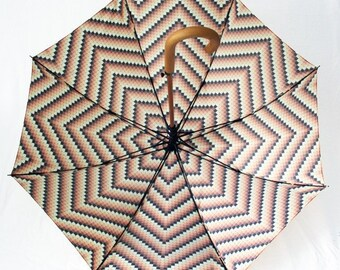 The Lorie - vintage inspired rain umbrella. Large 70s style beaded / crocheted look canopy.
