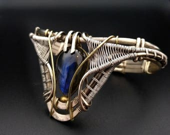 Labradorite Silver Cuff bracelet Wire Wrapped Bracelet Labradorite Cuff  Silver Jewelry Boho Jewelry Tribal Jewelry  wire wrap Jewelry