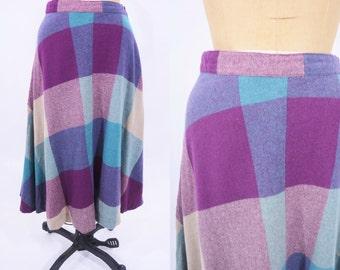 "1970s wool skirt | purple blue wool high waist skirt | vintage 70s skirt | W 26"""