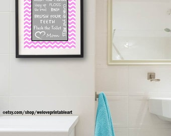 Kids Bathroom Art Decor Pink Gray Bathroom Artwork Printable Art Print Instant Download Bathroom Wall Quote Sign