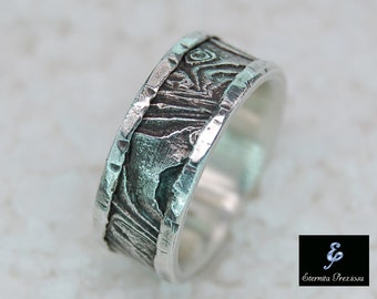 Unique silver wedding band , Cuttlebone rustic mens ring, Mens wedding band , Unique wedding band , Mens wedding ring, Engagement ring