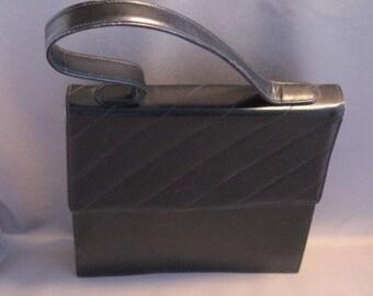 French Sofan Handbag Purse in Black Vinyl SALE was 19.00