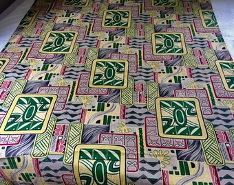 Vintage Barkcloth Drapes Fabric Mid Century Tiki