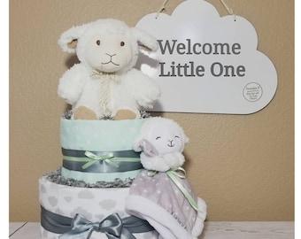 Cloud Diaper Cake| Lamb Diaper Cake | Neutral Gender Diaper Cake| Neutral Gender Baby Gift| Centerpiece| Baby Shower| Baby Shower Gift| Baby