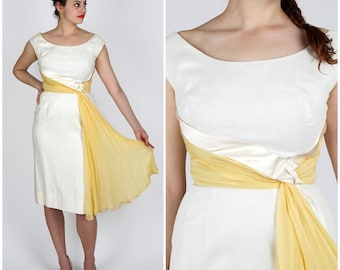 Vintage 1950s White & Gold Sheath Wiggle Dress  with Chiffon Waist Sash | Small/Medium