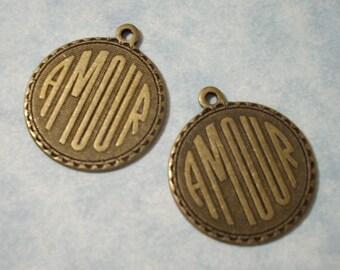 2 Amour Charms Oxidized Brass