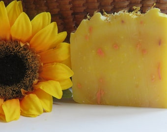 Sunflower Soap, All Natural Soap, Bath Soap, Handmade Soap, Bar Soap, Cold process Soap, Homemade Soap, New Hampshire Soap, Floral Soap