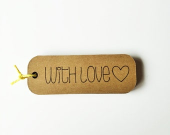 """Kraft """"With Love"""" Tags - 3"""" Wide """"With Love"""" Favor Tags"""