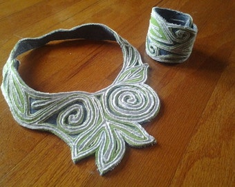 Denim blue and green collar necklace and cuff bracelet