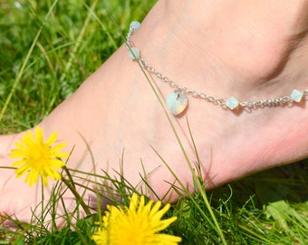 Mint Frost Heart Anklet - Swarovski Crystal Heart Ankle Bracelet - Bridesmaid Jewelry - Bridal Anklet - Beach Ankle Bracelet - Silver Anklet