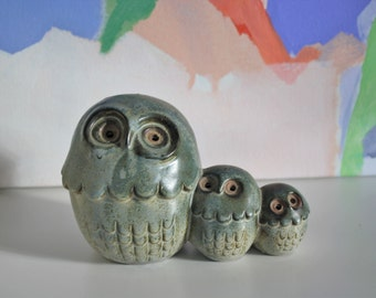 Vintage Pottery Owl Trio