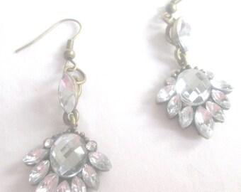 Earrings,Bride Jewelry,Prom Jewelry, Bride Earrings,Prom Earrings,Long Chunky Clear Crystal Silver Earrings,Jewelry for Brides by Cindydidit