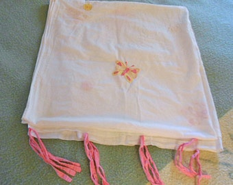 Girlie BUTTERFLY & DANDELION Curtain or Summer Day Bed Covert or Curtain, Pink Ties Handmade Dainty Embroidery Applique 100% Cotton 40 x 82