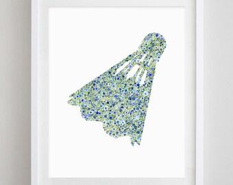 Shuttlecock Kansas City Heart Floral Watercolor Print