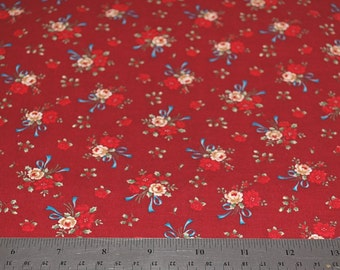 Cranston Print Works - Dark Red with Flowers Quilt Fabric  - Sold by the 1/2 Yard