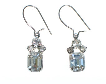 Vintage Pierced Petite Rhinestone Dangling Earrings