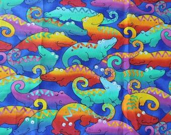 Whimsical  Colorful Alligator Fat Quarter