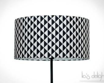 Abat-jour géométrique scandinave triangles noir et blanc, abatjour, abat jour