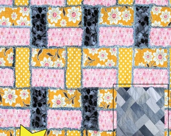 PDF DOWNLOAD- Straight Leg Denim Rag Quilt Pattern (use your Recycled Denim Jeans)
