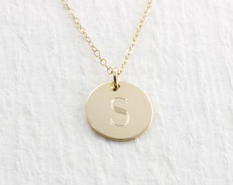 Initial Necklace Gold 14k Gold Engraved Necklace Solid Gold Necklace Engraved Initial Necklace Personalized Jewelry Holiday Gift For Her