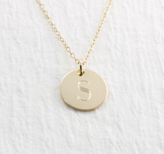 Initial Necklace Gold 14k Gold Engraved Necklace Solid Gold