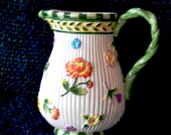 FITZ and FLOYD Ceramic Water PITCHER  Spring Flowers Crisp stunning colors and  design. White fluted body Raised colorful Flowers Green trim